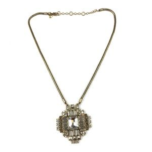 J.Crew Necklace Big Pendant Gold Clear Rhinestones